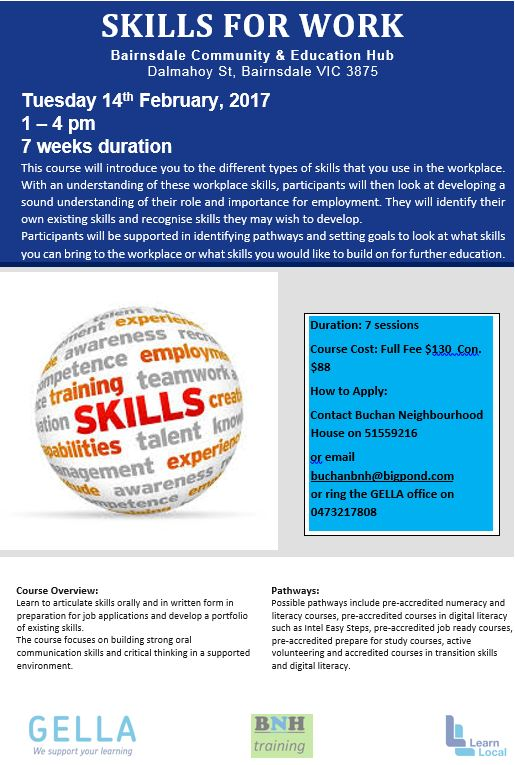 Skills for Work flyer 2017
